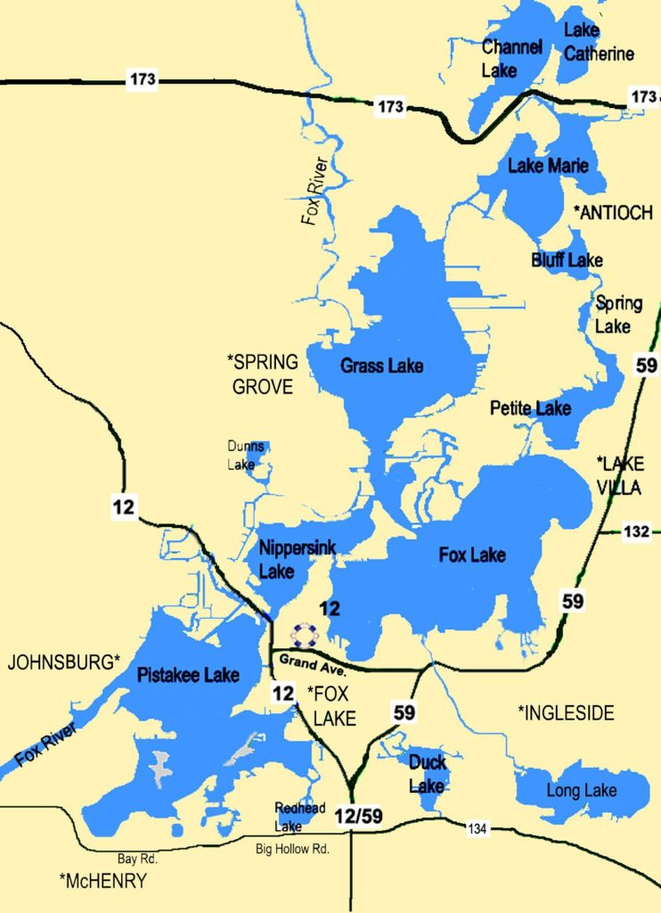 Boat Rental Map - Fox Lake, Pistakee Lake, Lake Maria and more
