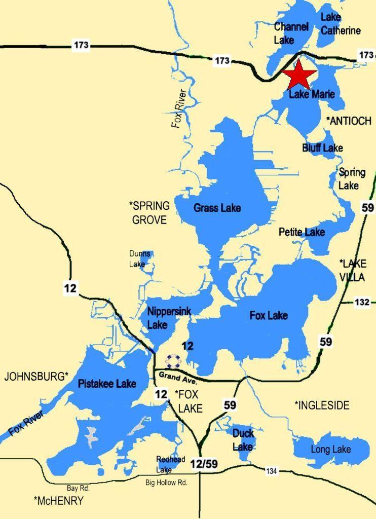 chain o lakes map Boat Rental Map Fox Lake Pistakee Lake Lake Marie And More chain o lakes map